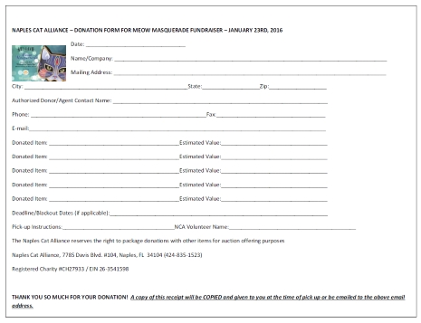 Donor form for Meow Masquerade
