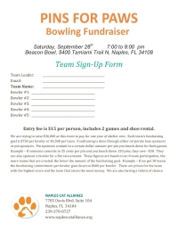 Pins for Paws flyer